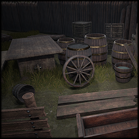 A pack containing high quality common Medieval wooden objects: barrels, wooden table, wooden bench, wooden planks, water buckets, wood logs, wooden palisade, wheel, wooden box, wooden fence and a wooden gate that could also fit well in a Fantasy scenario.