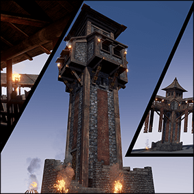 Contains High Quality Medieval Fantasy Assets: Medieval Watch Tower, a Bridge that can connect one tower to another, Banners, Carpets, the mentioned assets in a Moss covered version, Pebbles, Torches, Fire Plate, Particles, Light Function and Door BP.