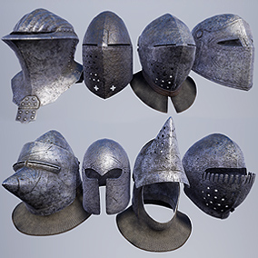 High Quality Medieval War Helmet Pack for FPS, RPG levels and games. Researched and based off authentic medieval reproductions.