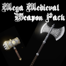 6 different medieval style melee weapons with high quality textures.