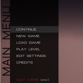 A Game Menu that features a save selection, a level selection and complete settings with key rebinding, language switcher, audio volumes and graphics settings.