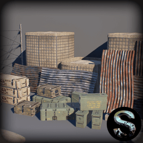 This props package intended for the development of military games. It includes high-quality models of fences, sandbags, ammobox, concrete debris, etc.