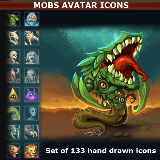 Set of 133 hand drawn mobs avatar icons.