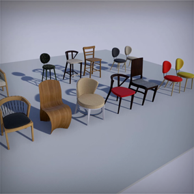 There are 12 modern chairs for architectural visualizations, hand-made UV maps.