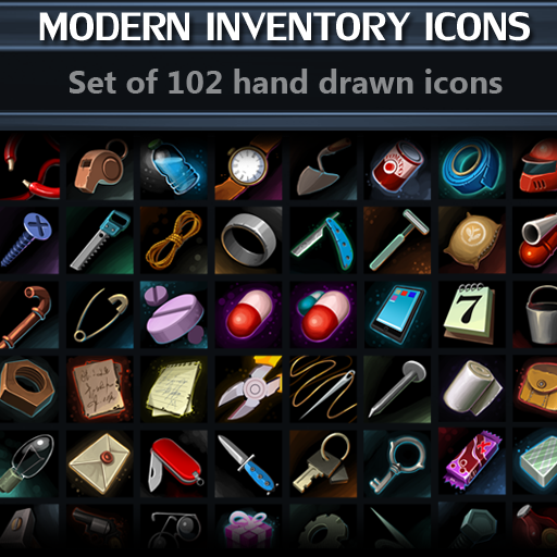 Set of 102 hand drawn modern inventory icons.