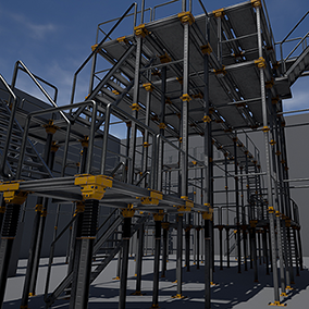 A modular walkway set suited for an industrial/sci-fi scene. Uses one 4k atlas for all parts in the set and can be configured in a large number of ways.