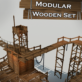 Stylized wooden structures and parts with handpainted textures.