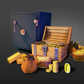 "A stylized collection of money related items such as: coins, chests, safes and more. Bundled with Spline Based Pickup Blueprint and ""Cartoon Effect"" Material function."