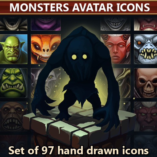 Set of 97 hand drawn monsters avatar icons.