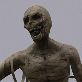 Here is a terrifying mummy, wandering in the abandoned mausoleum and sepulture.