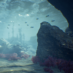 An underwater environment with rock meshes, terrain materials, algae, schools of fish, including an animated eel, particle effects, a submarine wreckage and downed Japanese WWII planes.