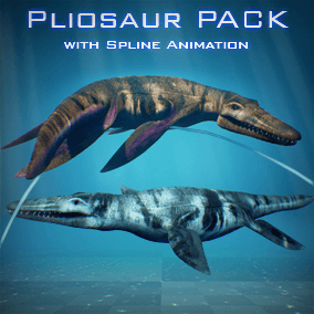 Create your own PhotoRealistic Pliosaur animation with a built in Spline Animation System!