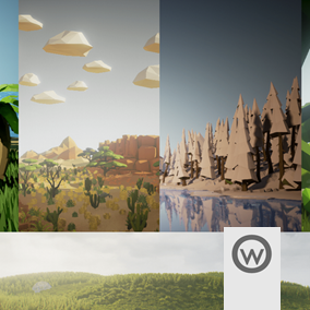 A complete repack that suits five of our marketplace contents in one package. Create leafy woods, vast deserts, snowy pine mountains and tropical islands with this repack that offer the massive amount of 390 meshes for give life to your best ideas!