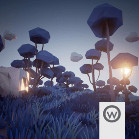 Asset package equipped with everything you need to design stylized Low Poly crepuscular forest environments.