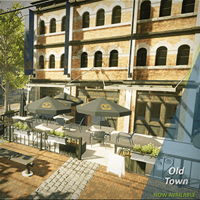 Old Town is a quick starter pack for a modern take on an old city. Cobblestone roads, ornate street props, and cute buildings with full interiors and more to get your world fitted with a cute old town district.