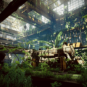 Abandoned train factories, covered with green plants. All kinds of discarded items: train, track, working platform, steel pipe, window, etc. Filled with traces of human abandonment.