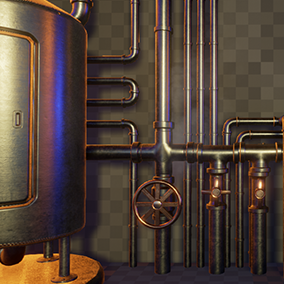 Complete your scene with this modular pipe pack, comes with a bonus boiler asset and 2 steam particles effects. Includes material variations to help you customize your scene.