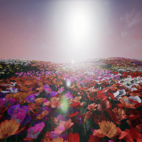 Low poly wild grass and flowers with wind controls in material.
