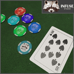 52 Card Deck with Poker/Casino Chips and Table, made with customization in mind! Made by Infuse Studio.