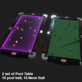 Presenting a pool table and Neon table used as for a background scene or as a product of mini pool games.