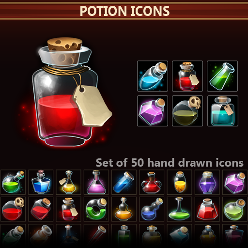 Set of 50 hand drawn potion icons.