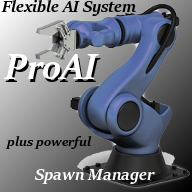 ProAI is based on the AI character and a powerful Spawn Manager System. You can place a single AI to the map, and, or use the powerful Spawn Manager to control the spawning of the AI. ProAI is very flexible, and let you save a lot of developing time.