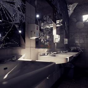 A run down public restroom environment with sinks, mirrors, toilet seats, stalls and much more.
