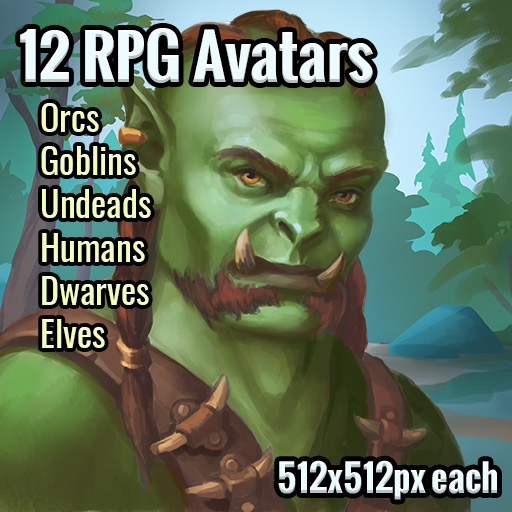 Set of 12 RPG character avatar images in a big resolution.