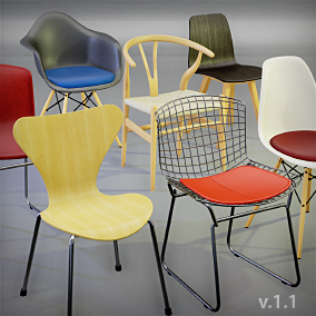 A small collection of high quality modern chairs popular in architectural visualizations.