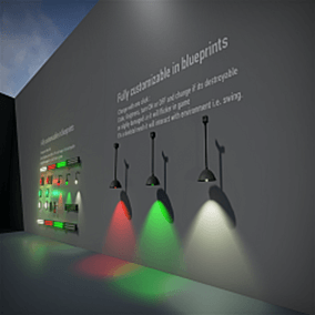 Lights are fully functional, change color, brightens in one click, can be destroyed and can be easy tweaked in blueprints. Switches are fully operational handles and buttons are moving and can be easy linked with lights.