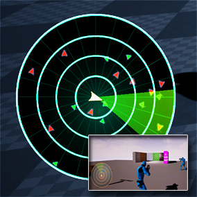 Radar System is a Bluprint based minimap system with multiplayer support that uses Scene Capture component to detect nearby enemies and other points of interest.