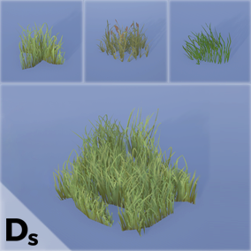 36 High quality grass mesh assets each with adjustable wind strength, interaction, snow effect and color variation.
