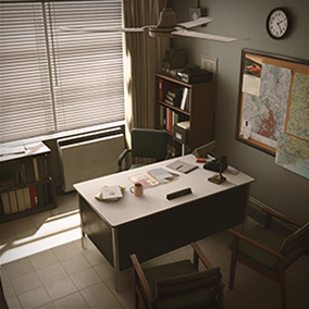 1971 Office Environment completed with over 100 PBR high quality textured assets, master materials, spline actor wires and pipes.