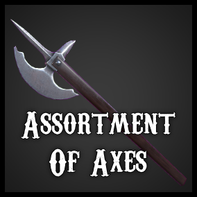 A realistic assortment of ten axes from various cultures and era's.