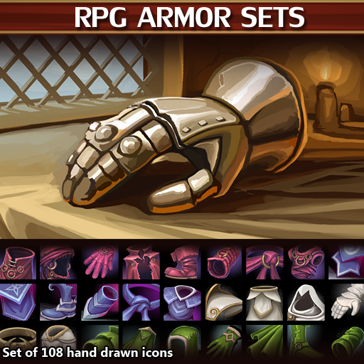 A set of 108 hand drawn armor icons.
