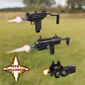 AAA quality MP7A1, P90, and Micro-Uzi SMGs with VFX, 3 LODs, & fully animated / rigged arms. Save 40%!