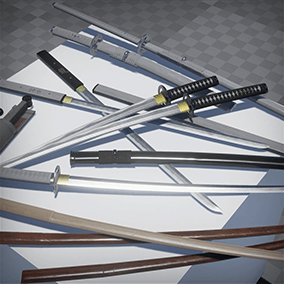 Samurai weapons in 2 themes (Black&White): Katana&Saya, Nodachi&Saya, Wakizashi&Saya, Chokuto&Saya, Bokken, Short Bokken, Naginata, Kunai&Bag, KatanaStand & ChokutoStand.