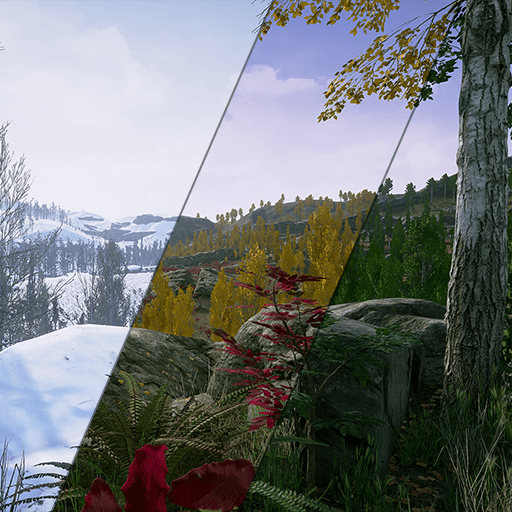 Pack contains photorealistic, photoscanned poplar/aspen trees, foliages, ferns, shrubs, rocks models, photoscanned terrain textures and material sets. All for summer, autumn and winter seasons with sample scenes.