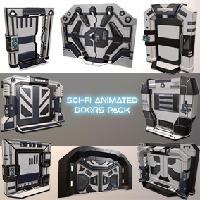 Sci-Fi Animated Doors Pack contains 8 animated Sci-Fi doors with unique design and 2 texture PBR sets (worn, unworn) for each door, great for FPS, Third person and Top down type of games.