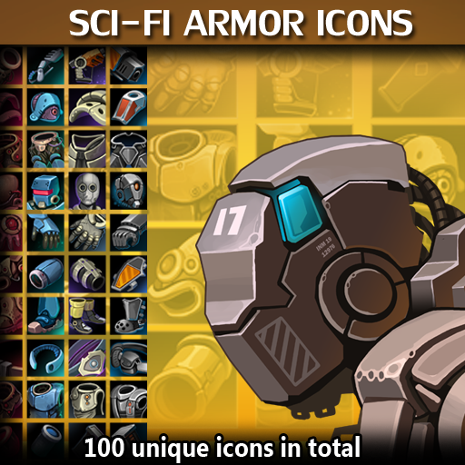 Set of 100 hand drawn Sci-Fi armor icons.