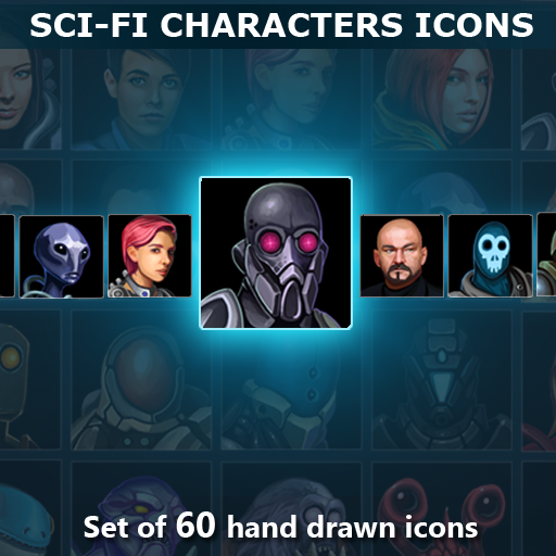 Set of 60 hand drawn Sci-Fi character avatar icons.