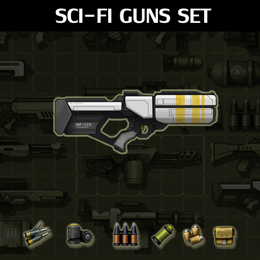 A set of 15 Sci-Fi guns and 14 ammunition parts.