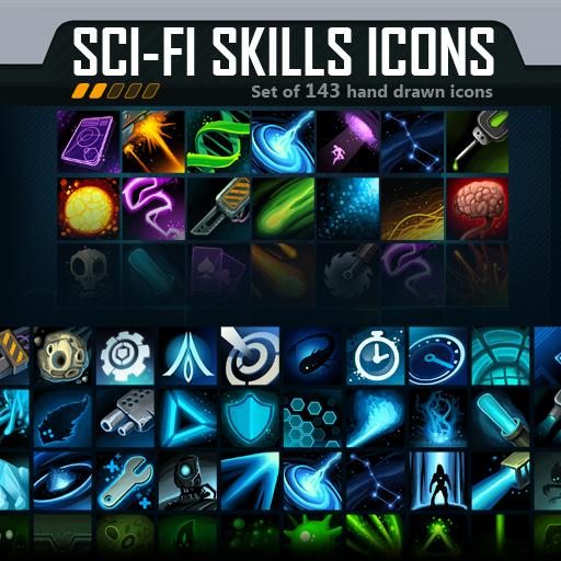 Set of 143 hand drawn Sci-Fi skills icons.