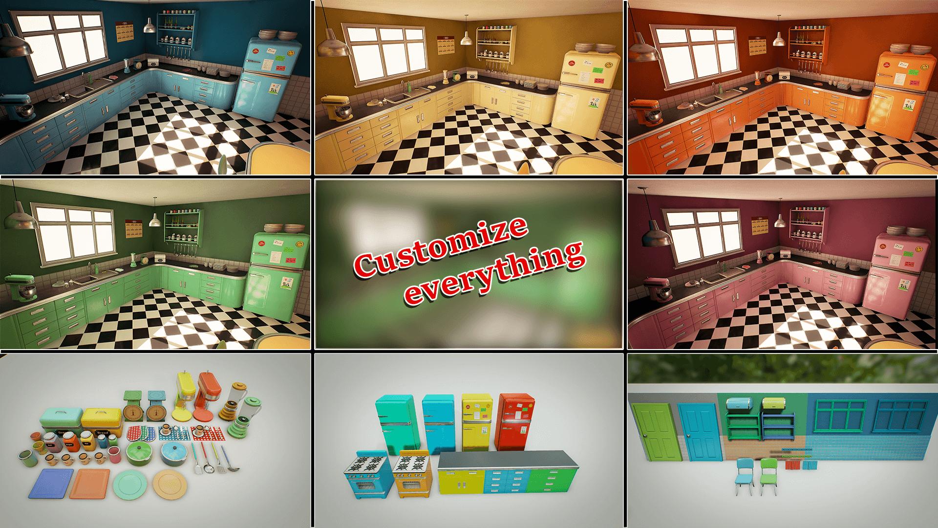 Retro Kitchen Customizable Retro Kitchen By Nguyen Cong Thai In Environments