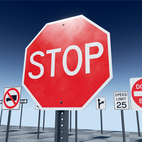 An assortment of 27 of the most commonly used road signs.