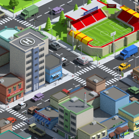 SimplePoly City is a collection of low poly assets for to create city based games.