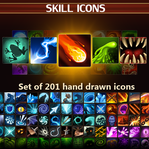 Set of 201 hand drawn skill and spell effects icons.