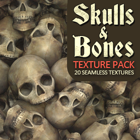 20 Seamless Textures and Materials. Skulls and Bones combined with mud, sand, water, snow and rocks.