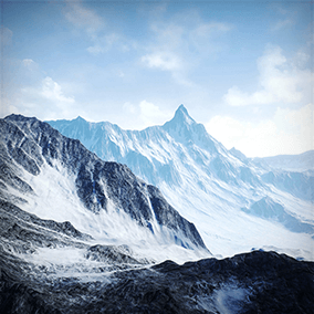 Snowy Mountains is a 16 Square Kilometers landscape, taking you right into the middle of a freezing mountain range where you can walk on the lower parts or go high into the mountains!