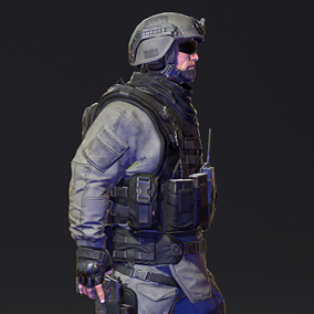 Modern soldier with skeleton, skinning, LODs, and six PBR materials.